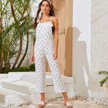 Pocket Front Knotted Strap Overalls Without Bandeau