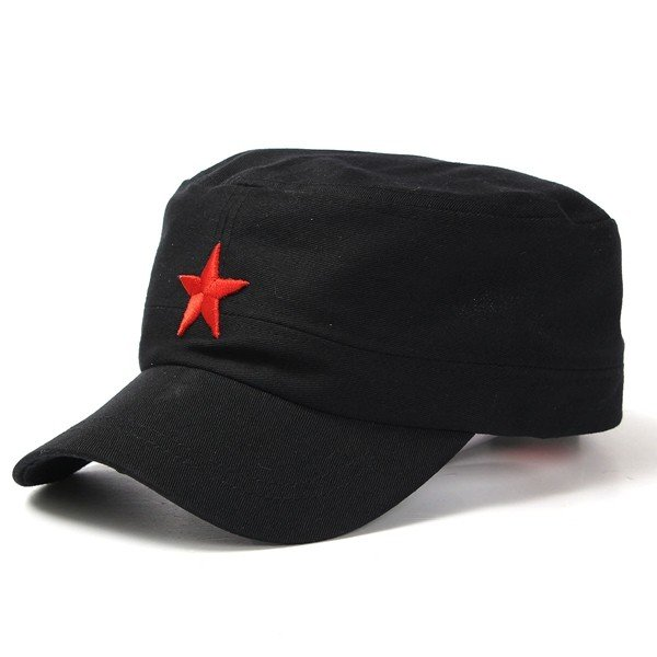 Men Women Red Five-Pointed Star Military Hat Cotton Adjustable Army Cadet Cap Lovers Hat