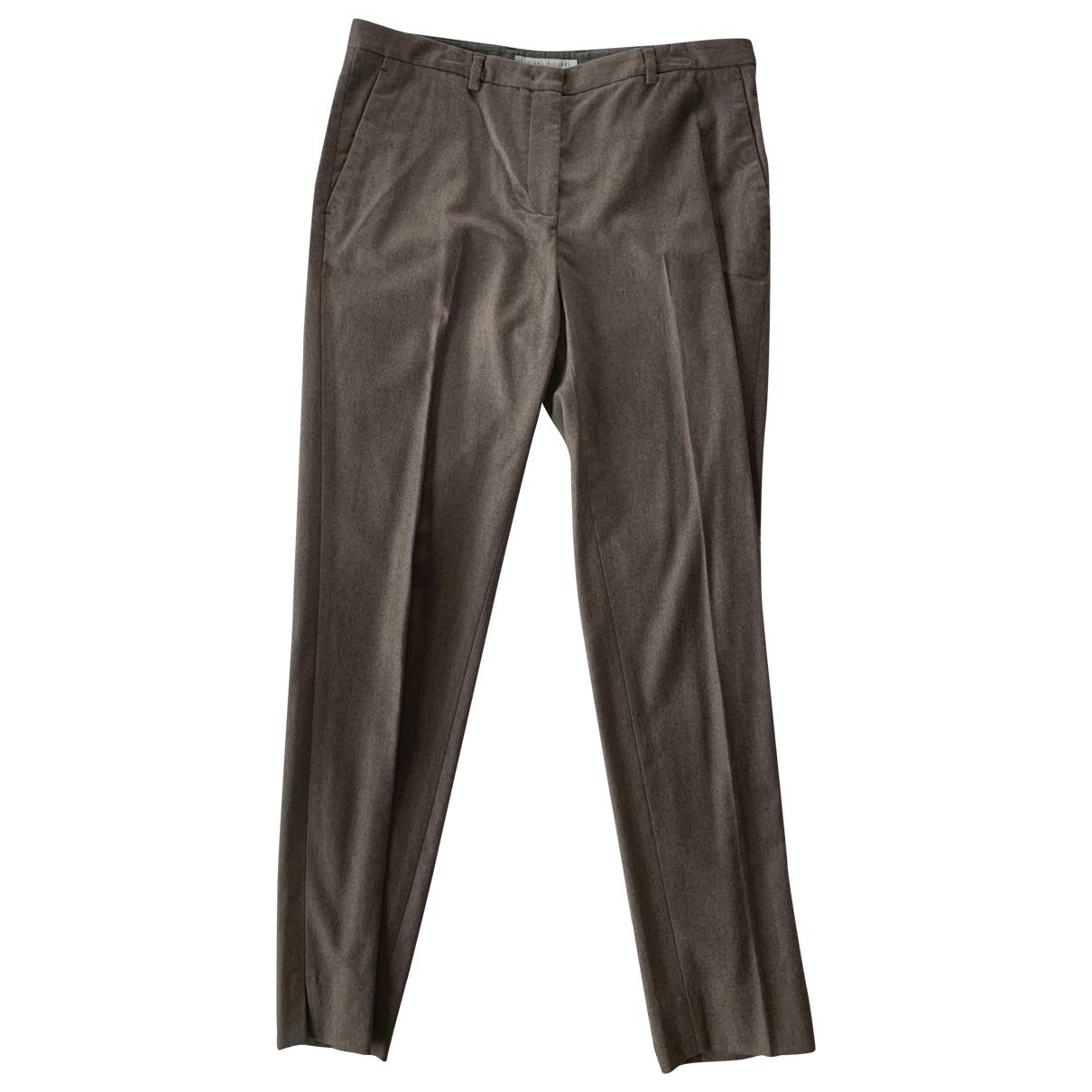 Fabiana Filippi \N Brown Wool Trousers for Women 42 IT