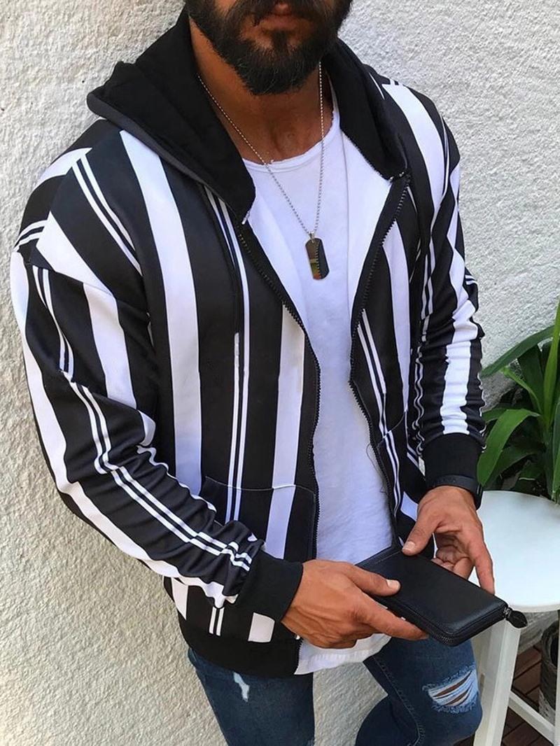 Ericdress Patchwork Stripe Hooded Winter Zipper Jacket