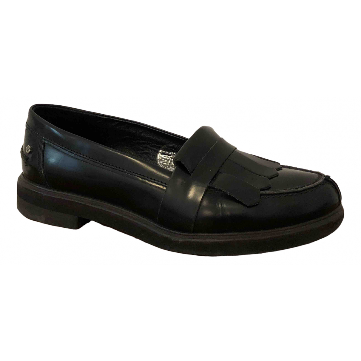 Non Signé / Unsigned \N Black Leather Flats for Women 39 IT