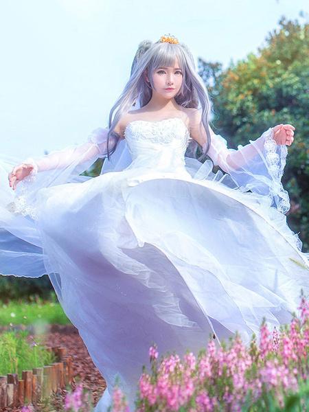 Milanoo Zootopia Judy Hopps Rabbit Police Cosplay Costume White Wedding Dress Halloween
