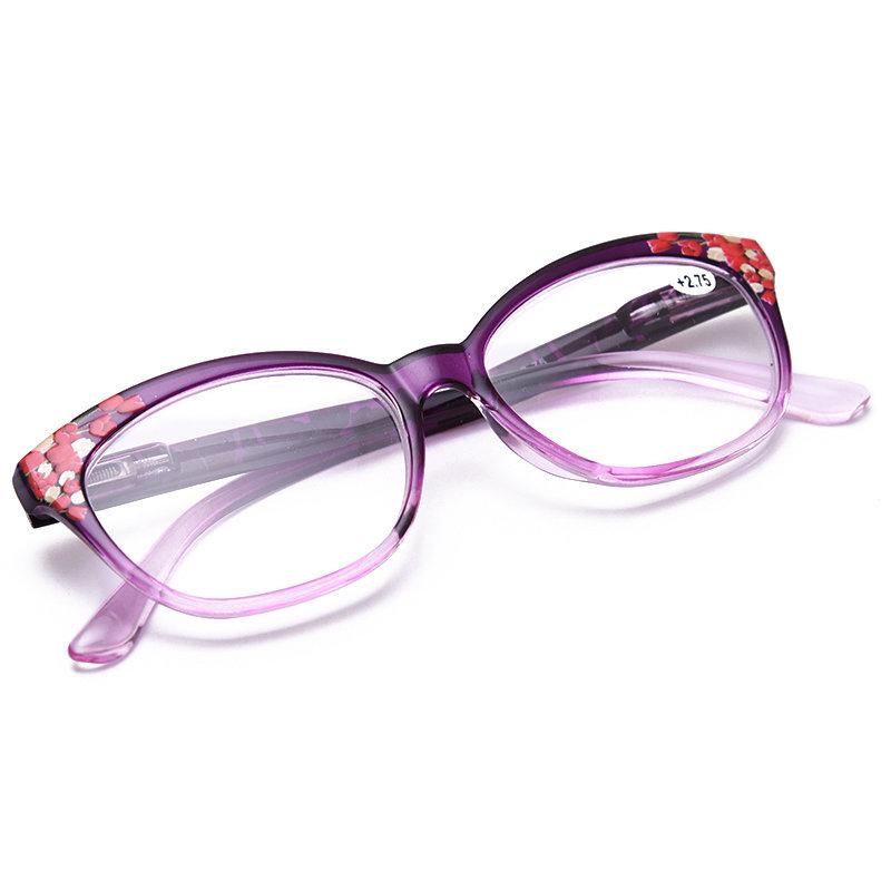 Women Vogue Light Resin Plastic Anti-fatigue Comfortable Computer Cat Eye Reading Glasses