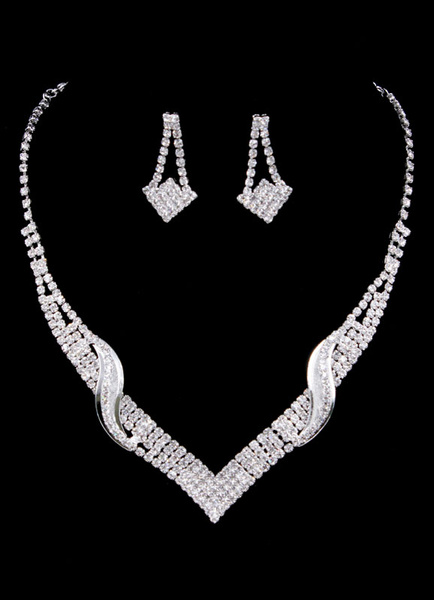 Milanoo Wedding Jewelry Set Silver Rhinestone Bridal Drop Earring With Necklace