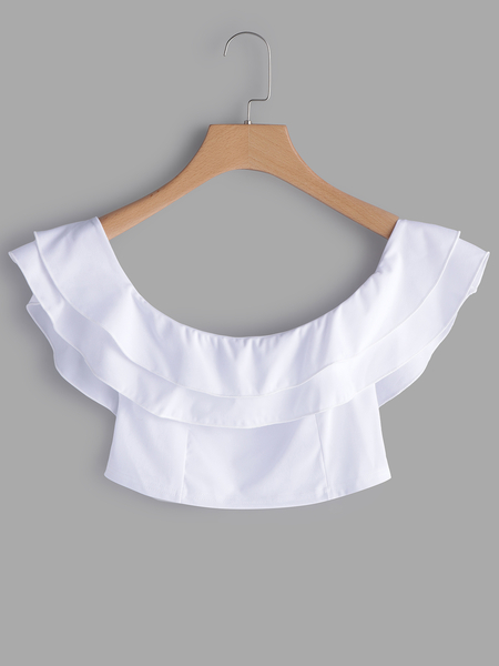Yoins White Off The Shoulder Flounced Design Crop Top