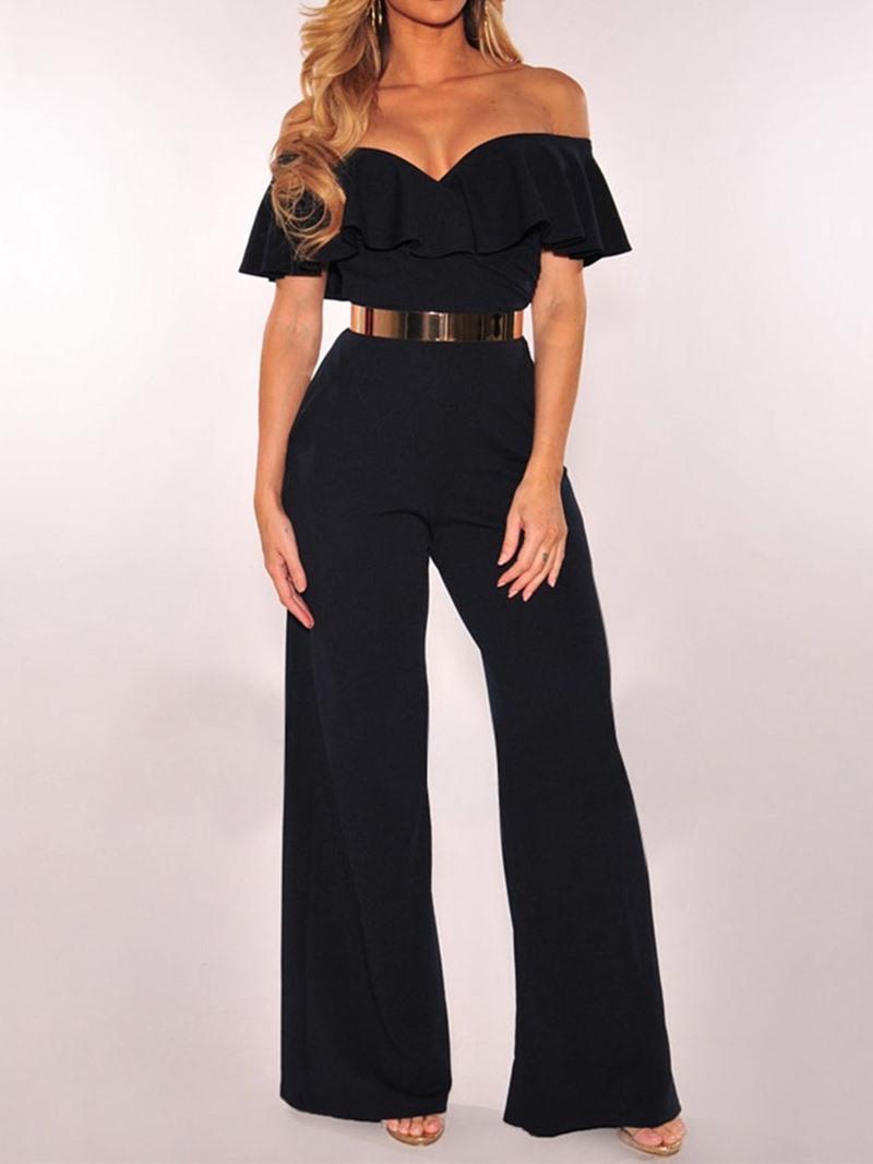 Ericdress Plain Fashion Full Length Wide Legs Without Belt High Waist Jumpsuit