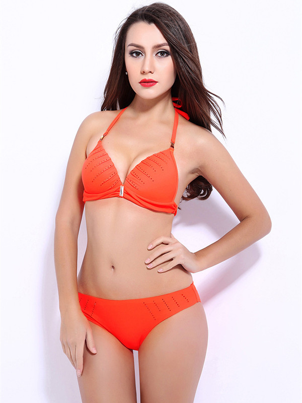 Women Halter Beading Push-up Bikini Set