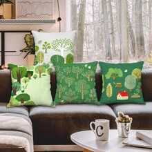 1pc Forest Print Cushion Cover Without Filler