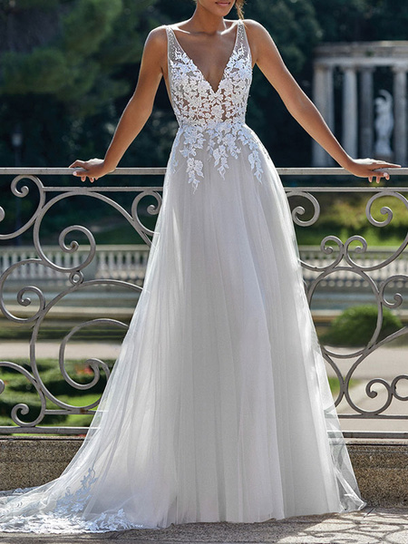 Milanoo simple wedding dress 2020 a line v neck straps sleeveless lace appliqued tulle bridal gown