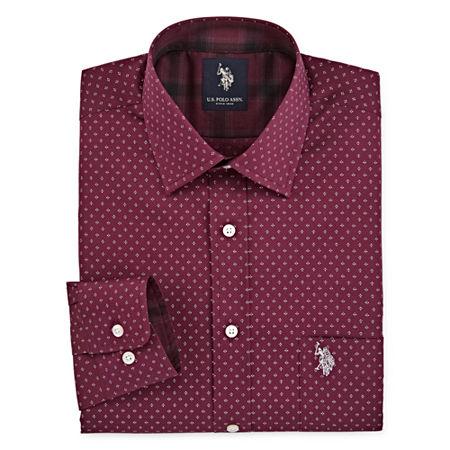 U.S. Polo Assn. Mens Spread Collar Long Sleeve Stretch Dress Shirt, 17-17.5 38-39, Red