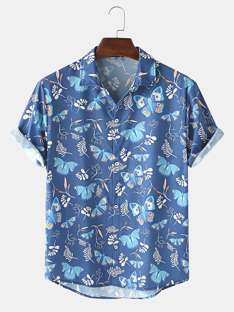 Mens Allover Butterfly Print Light Casual Short Sleeve Shirts