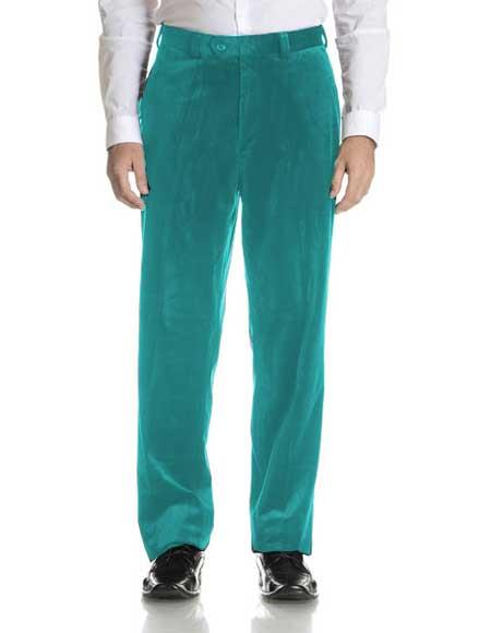 Men's Turqoise Velvet Fabric Modern Fit Flat Front Pant