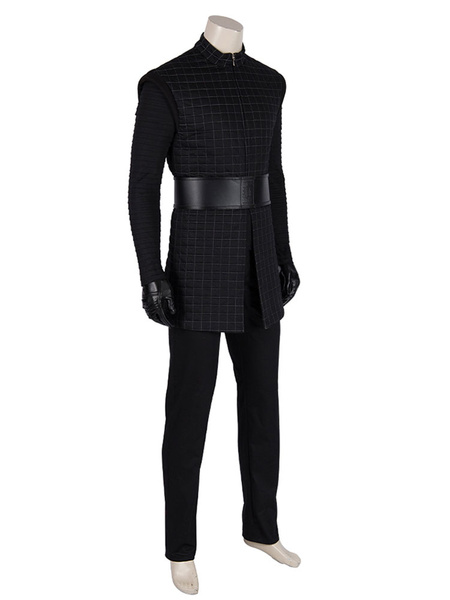 Milanoo Star Wars Cosplay Star Wars: The Rise Of Skywalker Kylo Ren Black Outfit Cloak Faux Leather Cosplay Costume Deluxe Edition