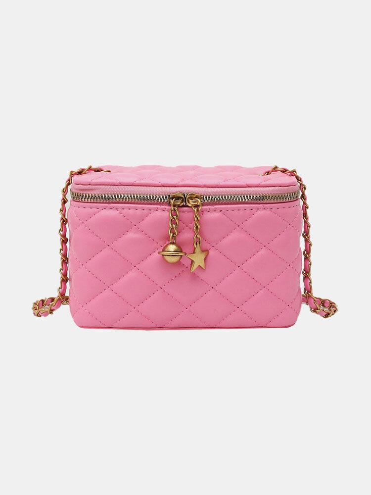 Women Argyle Chain Hardware Quilting Box bag Crossbody Bag