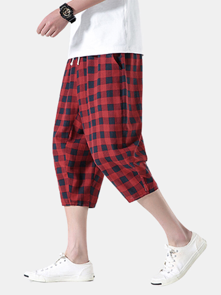 Mens Design Striped & Plaid Cotton Breathable Drawstring Cropped Shorts