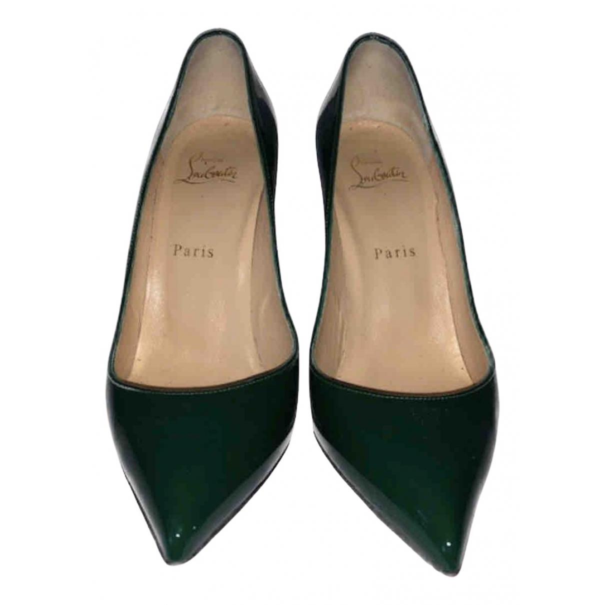 Christian Louboutin \N Green Patent leather Heels for Women 38.5 EU