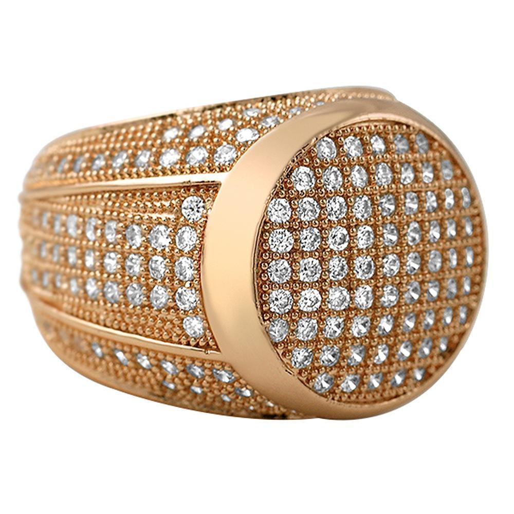 Presidential Rose Gold CZ Bling Bling Ring