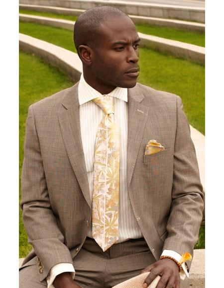 Mens Beige 2 Button Single Breasted Solid Notch Lapel Suit