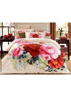 3D Peonies Printed Cotton 4-Piece Bedding Sets/Duvet Covers