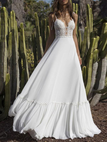 Milanoo boho wedding dresses 2020 chiffon v neck a line straps sleeveless bows lace bridal gowns ruffle hem bridal dress for beach wedding