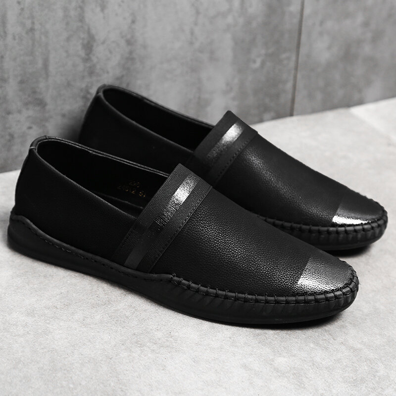 Men Pure Color Cow Leather Non Slip Slip On Casual Loafers