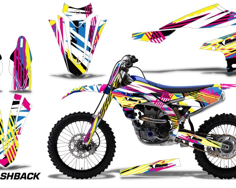 AMR Racing Graphics MX-NP-YAM-YZ450F-2018+-FB Kit Decal Sticker Wrap + # Plates For Yamaha YZ450F 2018+áFLASHBACK