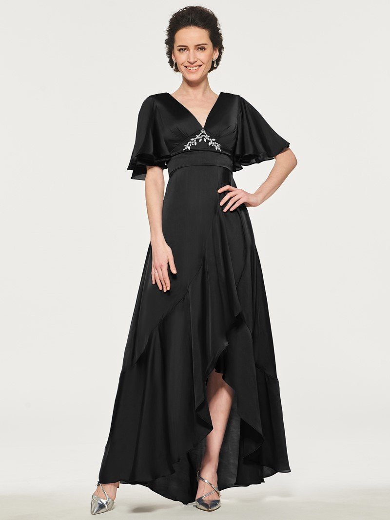 Ericdress Short Sleeve Beading Asymmetry Mother of the Bride Dress