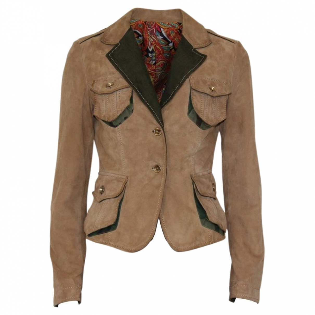Non Signé / Unsigned \N Beige Suede jacket for Women 40 IT