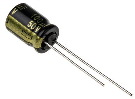 Panasonic 100μF Electrolytic Capacitor 50V dc, Through Hole - EEUFM1H101 (200)