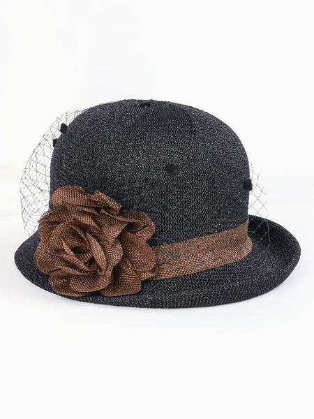 Milanoo Women Fascinator Hat Grey Net Flowers Hat Retro Costume Accessory Halloween