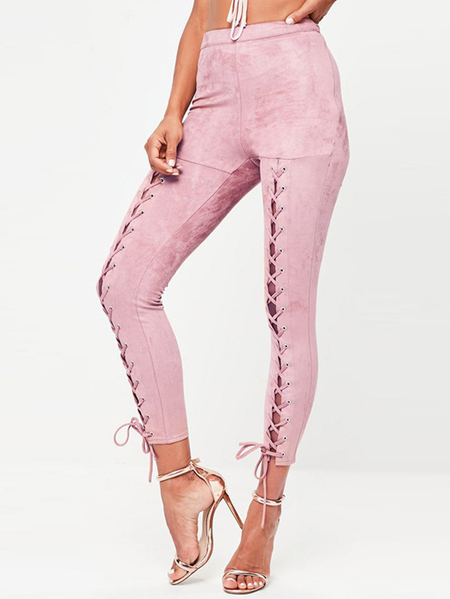 Yoins Pink Lace-up Design High Waist Bodycon Pants