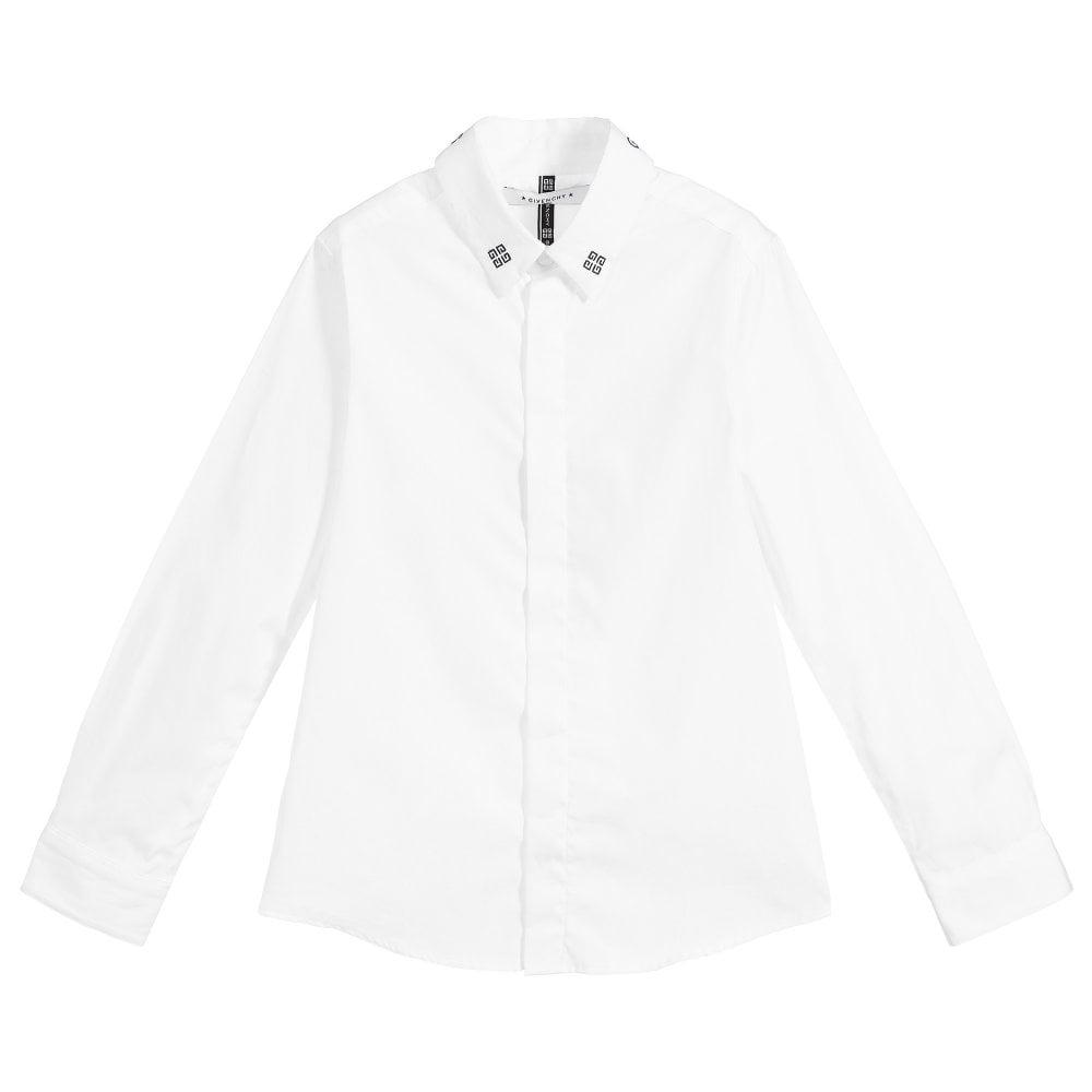 Givenchy Kids Long Sleeve Collar Logo Shirt Colour: WHITE, Size: 4 YEA
