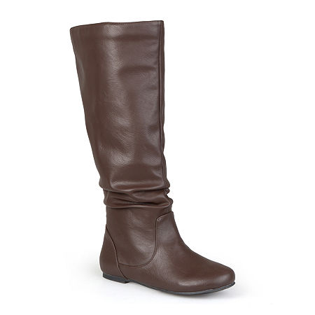 Journee Collection Womens Jayne Wide Calf Slouch Boots, 9 Medium, Brown