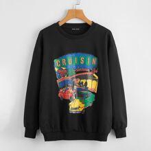 Letter & Car Graphic Drop Shoulder Sweatshirt
