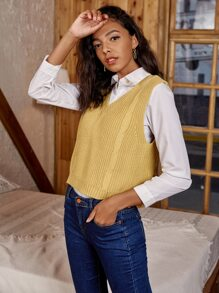 Cable Knit Solid Sweater Vest Without Blouse