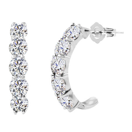 Lab-Created Round White Sapphire Sterling Silver J-Hoop Earrings, One Size , No Color Family