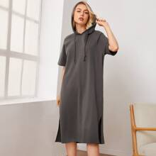 Raglan Sleeve Slant Pocket Drawstring Hooded Dress