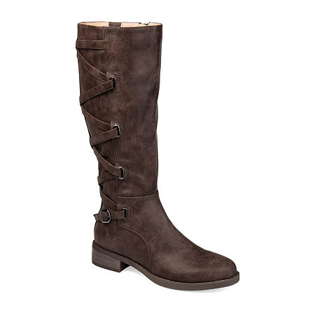 Journee Collection Womens Carly Riding Boots Stacked Heel, 5 1/2 Medium, Brown
