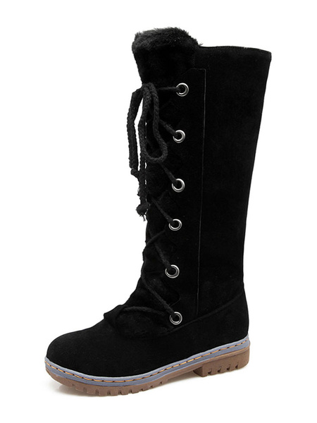 Milanoo Womens Winter Mid Calf Boots Round Toe Flat Boots