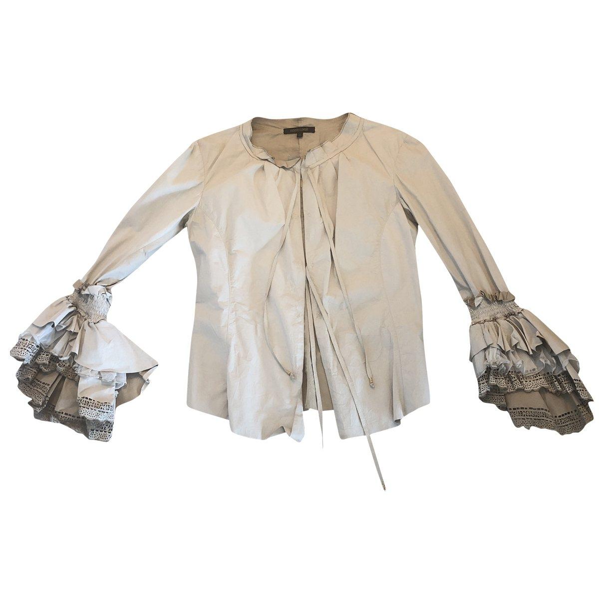 Roberto Cavalli \N Beige Leather jacket for Women 44 IT