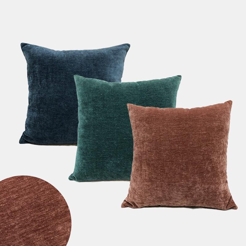 Chenille Sofa Pillow Car Lumbar Pillow Cushion Home Plain Simple Style Pillowcase