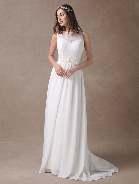 Milanoo Beach Wedding Dresses Lace Chiffon Bridal Dress Summer Sleeveless Backelss Flower Sash Wedding Gowns With Train