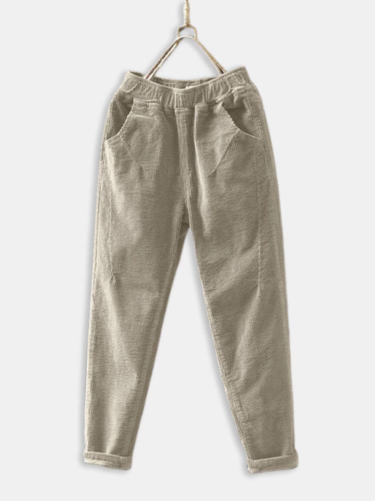 Corduroy Elastic Waist Plus Size Vintage Pants for Women