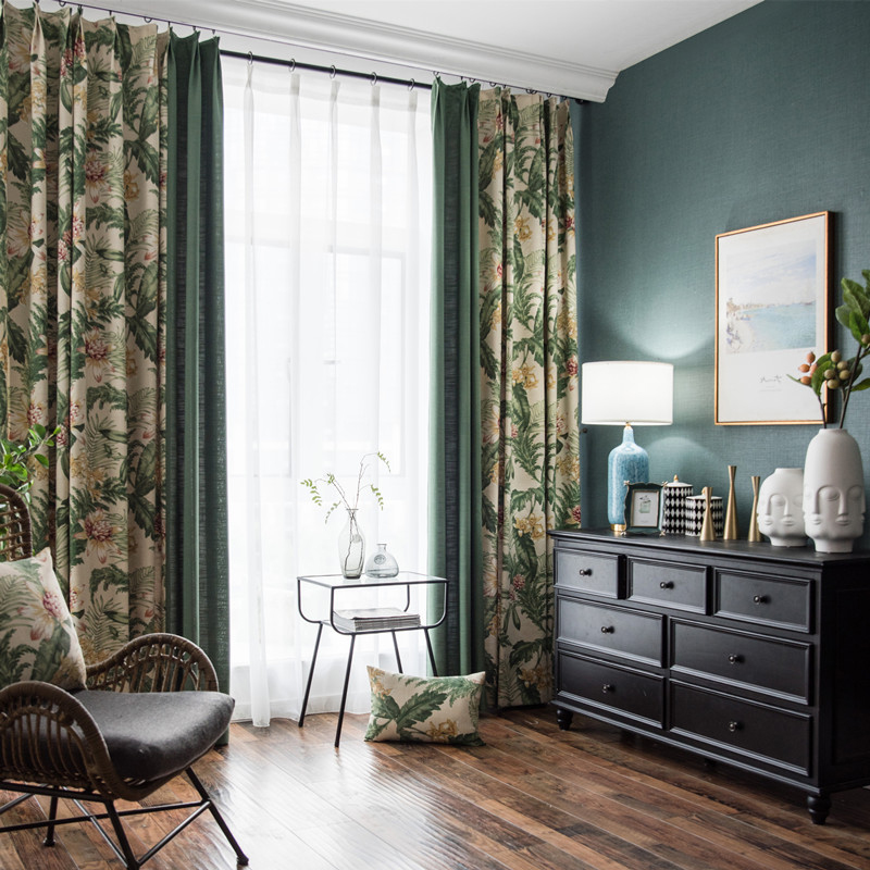 Polyester Material Decorative Feature Plant Pattern Curtain Sets