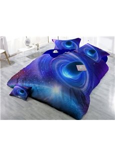 Shining Blue Planet Wear-resistant Breathable High Quality 60s Cotton 4-Piece 3D Bedding Sets