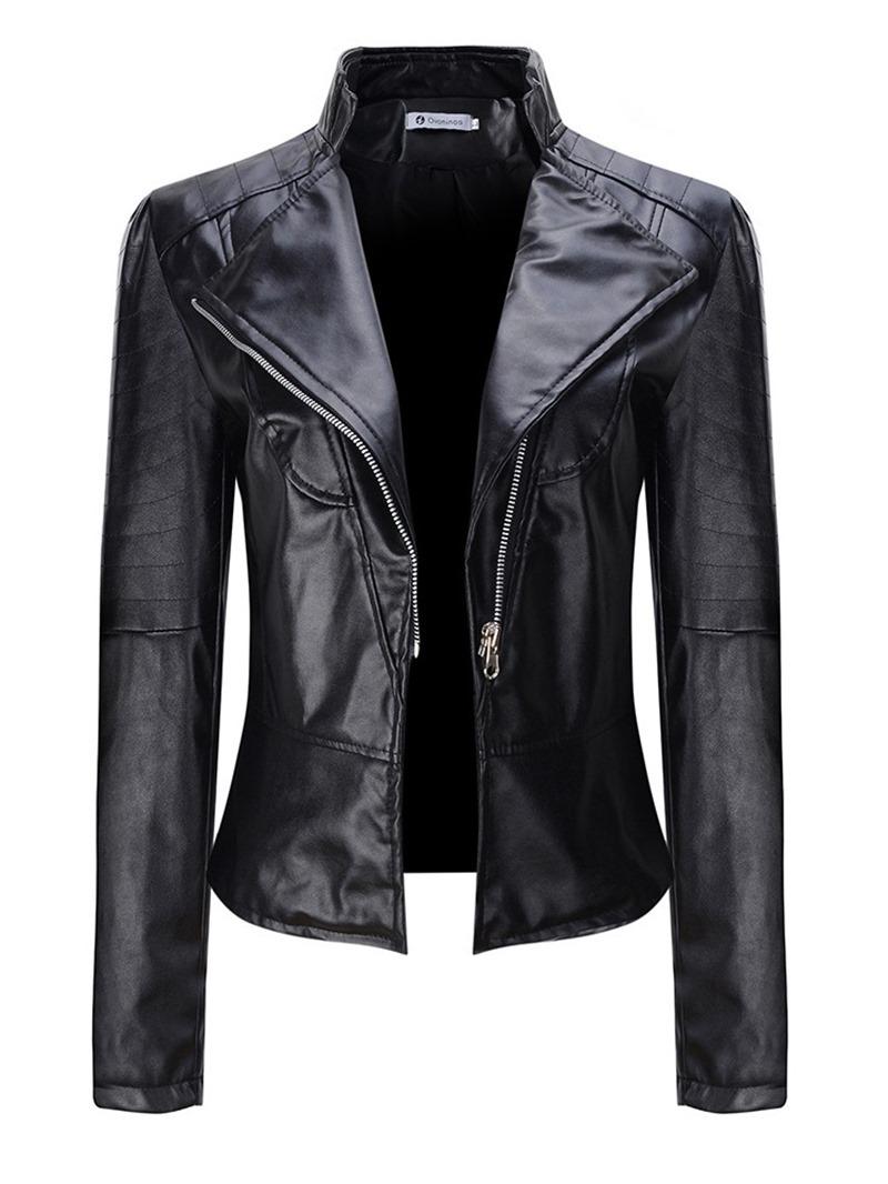 Ericdress Slim Short PU Spring PU Jacket