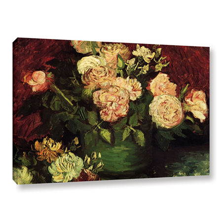 Brushstone Roses And Peonies Gallery Wrapped Canvas Wall Art, One Size , Red