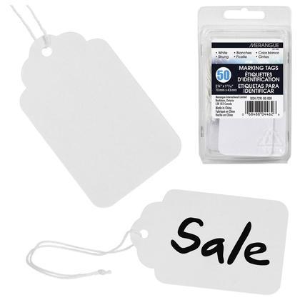 Merangue@ etiquettes d'identification blanches avec ficelle, Paquet de 50 - 2-3/4 x 1-11/16