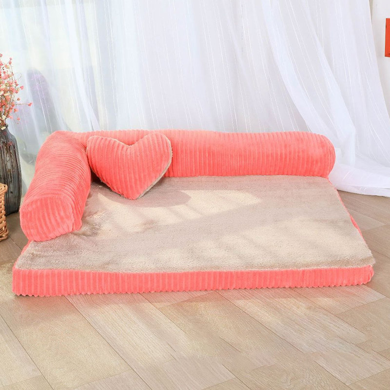 Luxury Corduroy Bolster Large Dog Sofa Bed Pet Puppy Fleece Sofa with Heart Cusion