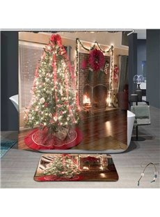 3D High Quality Delicate Christmas Tree Print Bathroom Shower Curtain